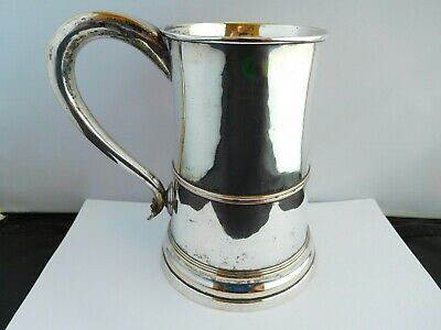 Lovely George Iii Silver Plated Quart Tankard