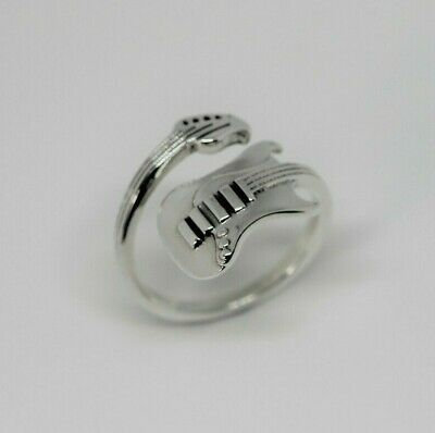 cc2726569 925 Sterling Silver Adjustable Wrap Around Music Guitar Ring in Box