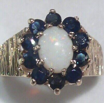 Heavy 5.16G Solid 9Ct Gold Fiery Opal Sapphire English Vintage Ring 1973 Hm~Sz O