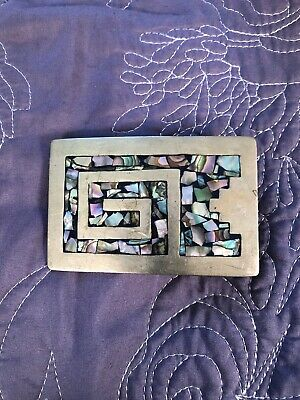 Vintage Mexico Alpaca silver plated Abalone shell man's belt buckle