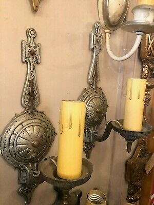 Pair Vintage 1920s Aluminum Compass Style Wall Sconces Re-Wired