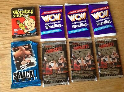 UNOPENED VINTAGE PACKS 1980s WWF 1990s WCW TNA WRESTLING TRADING CARDS AUTOS?
