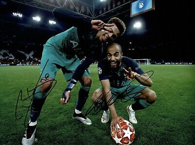 "Lucas Moura And Dele Alli signed 16x12"" Photo Spurs Fc Semi Final Ajax #65"