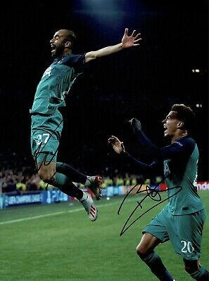 "Lucas Moura And Dele Alli signed 16x12"" Photo Spurs Fc Semi Final Ajax #67"