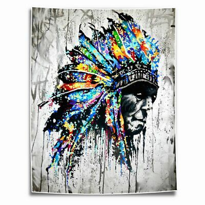 WAR PAINT NATIVE American HD Print on Canvas Home Decor Room Wall