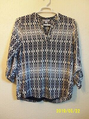 Moa Moa Womens Black/White Pattern Shirt Tab Sleeve Split Back Size L
