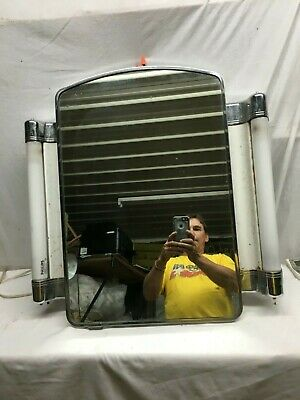 Vintage 1950s Chrome Bathroom Mirror with Florescent lights on each side , Archi