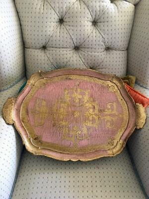Vtg Italian Florentine Pink & Gold Gilt Tole Toleware Faux Wood Large Tray