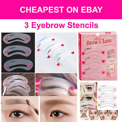 3 Eyebrow Stencils Grooming Shaper Kit Brow Template Makeup Reusable Tools