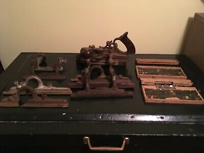 Antique Stanley Model No. 45 Plane Tool With 2 Boxes Of Blades And Extra Parts