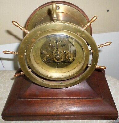 Rare Antique Waterbury Usa Ships Wheel & Bell 8 Day Brass & Wood Mantel Clock!