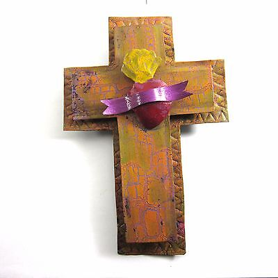 Sacred Heart Tin Milagro Mexican Folk Art Cross Painted Wall Hanging Ornament