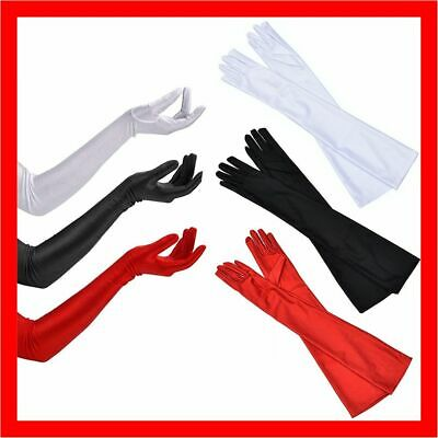 Long Satin Gloves Costume Bridal Evening Party Prom Opera Wedding Womens Ladies