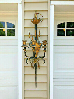 Vintage Neoclassical Italian Florentine Sword Gilt Tole Metal Wall Candle Sconce