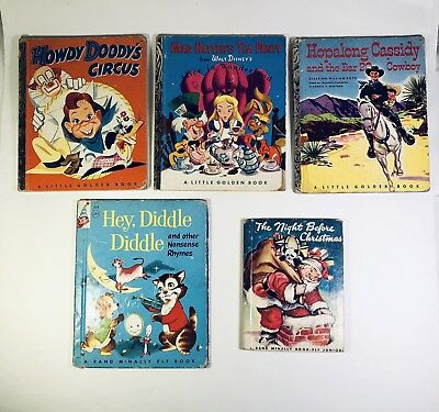 Lot Of Five Vintage CHILDREN'S BOOKS 1940s 1950s Golden Books Elf Books