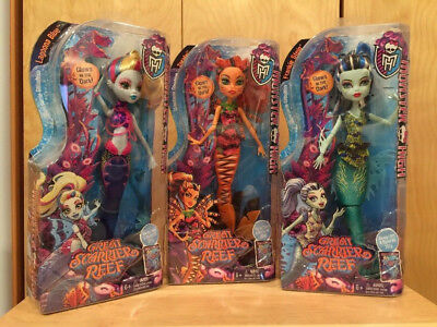 Monster High Great Scarrier Reef Glowsome Ghoulfish Lagoona frankie toralei set