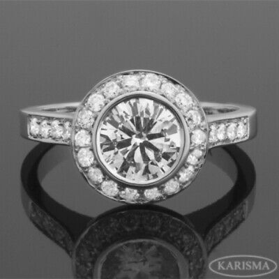 Diamond Ring Halo 18 Kt White Gold Channel Set Accents Natural 1.58 Carat Round