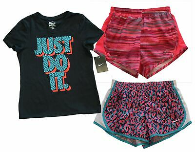 NIKE Little Girls Dri-Fit Running Shorts and Just Do It Black T-Shirt Tee M NWT