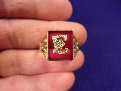 "Amazing! Vtg Antique Mens N/M 10K Yellow Gold Art Deco ""E"" Signet Ring Size 13.5"