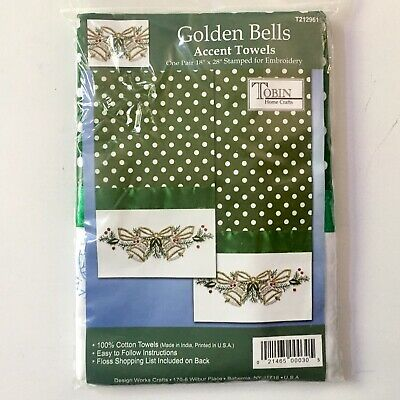 Golden Bells Cotton Accent Towels Stamped for Embroidery Tobin Crafts Holiday