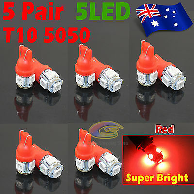 10x Red T10 5050 SMD 5 LED 194 168 Car Light 12V Wedge Tail Side Lamp Auto Bulb