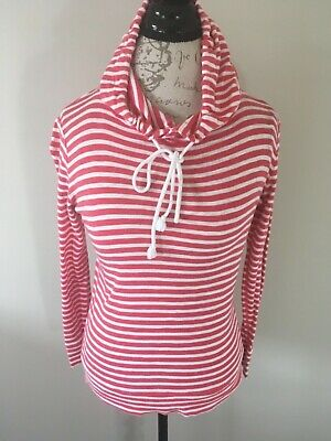 J. Crew Women Sz XS Red White Striped Hooded Pullover Knit Drawstring Top F81
