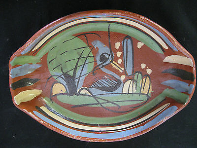 Vtg Mexican Pottery Tlaquepaque Bandera Redware Handpainted Serving Dish