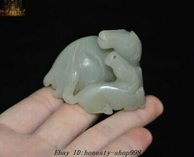 Natural Hetian jade Carved Han dynasty Feng Shui 2 Horse Animal Horses Statue