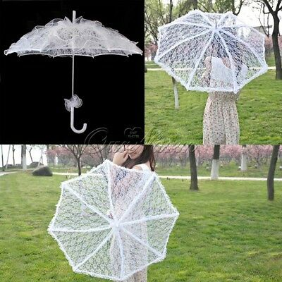 Vintage White Lace Parasol Umbrella for Bridal Wedding Party Photo Prop Decor