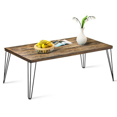 Rectangular Cocktail Coffee Table Rustic Industrial Solid Wood with Metal Legs