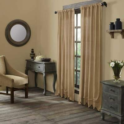 VHC BRANDS Burlap Navy Check Scalloped Primitive Country Farmhouse CURTAINS PAIR