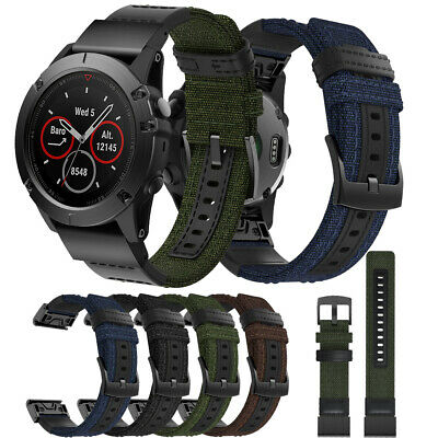 Canvas+Genuine Leather Watch Band Nylon Strap for Garmin Fenix/5X/5X Plus/3/3 HR
