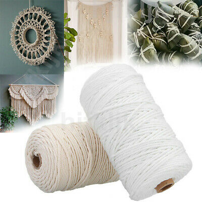 200m Long Beige/White Cotton Twisted Cord Rope Crafts Macrame Artisan String