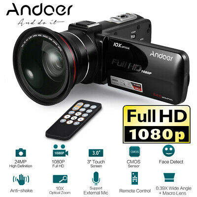 1080P Full HD 24MP Digital Video Camera Camcorder W/ 0.45X Wide Angle Lens Q3I1