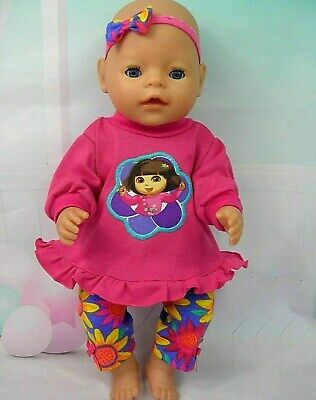 "Dolls clothes for 17"" Baby Born~Cabbage Patch doll~ DORA PINK TOP~LEGGINGS~H'BOW"