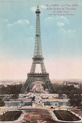 France Paris The Eiffel Tower and the Trocadero Gardens 1929 vintage postcard