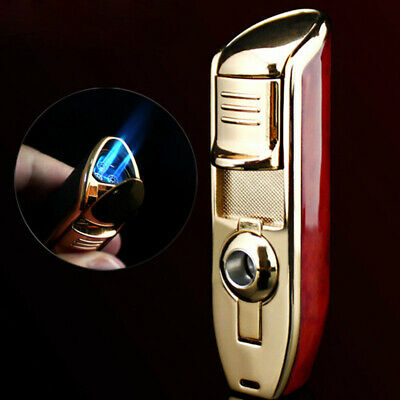 1*Windproof Refillable Butane Gas Triple Jet Flame Cigar Cigarette Torch Lighter