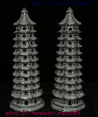 Collect Chinese Old kiln Crackle Glaze Porcelain Stupa Pagoda Tower Statue Pair