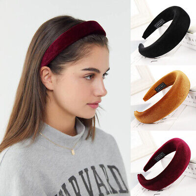 Women's Velvet Headband Padded Hairband Wide Sponge Hair Hoop Band Accessories