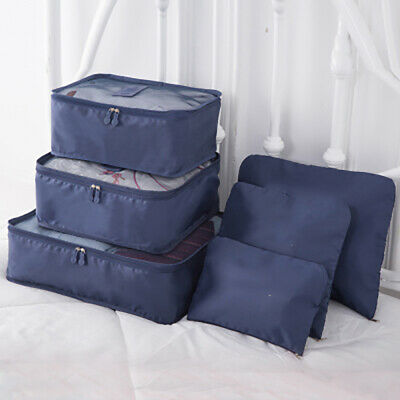 6PCS Waterproof Travel Storage Bags Clothes Packing Cube Luggage Organizer LLM