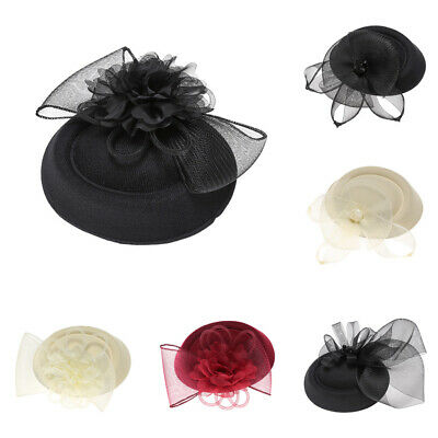 Women's Veil Fascinators Cocktail Party Wedding Feather Mini Top Hats Pin Clips
