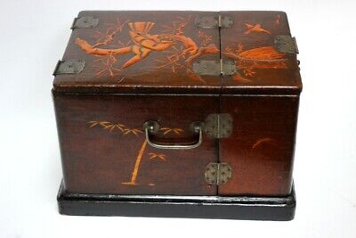 Antique Lacquered Wooden Vanity Chest Box - FREE Shipping [5198]