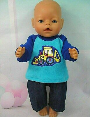 "Dolls clothes for 17"" Baby Born/Cabbage Patch doll~BLUE BACKHOE TOP~DENIM PANTS"