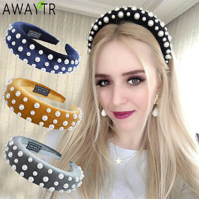 Women's Pearl Hairbands Padded Headband Velvet Solid Hair Bands Hoop Accessories