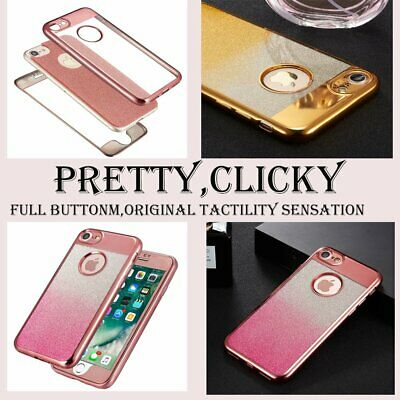 Bling Glitter Gradient Shockproof Hybrid 360 TPU Case Cover For Samsung & iPhone