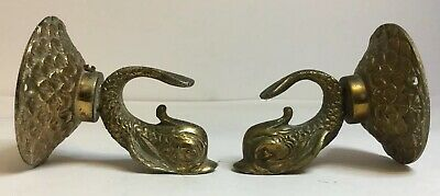 Pair Of Antique Brass Furniture Mounts / Finials In The Form Of Dolphins