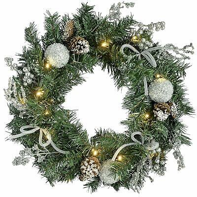 WeRChristmas Pre Lit Decorated Wreath with 20 Cold White LED Lights, Silver Ice