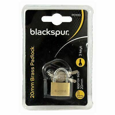 Blackspur 20mm Brass Padlock 3 Key Travel Suitcase Luggage Security Lock