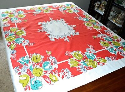 VINTAGE 1940s TABLECLOTH RED WHITE AQUA GREEN TULIPS LARGE FLORALS 46X52 INCH