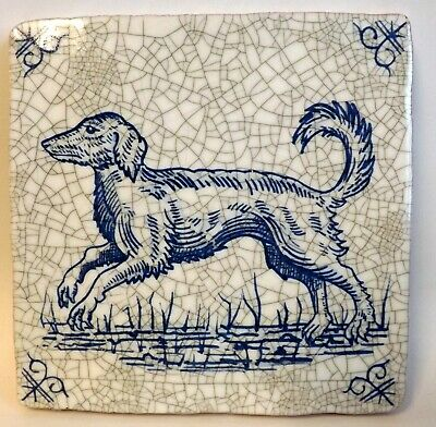 "19th Century Style Blue & White Delft Tile, 5"" x 5"" Running Dog, Brand New"